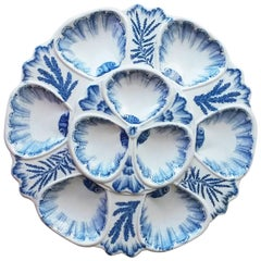 19th Century Blue and White Oyster Plate Vieillard Bordeaux