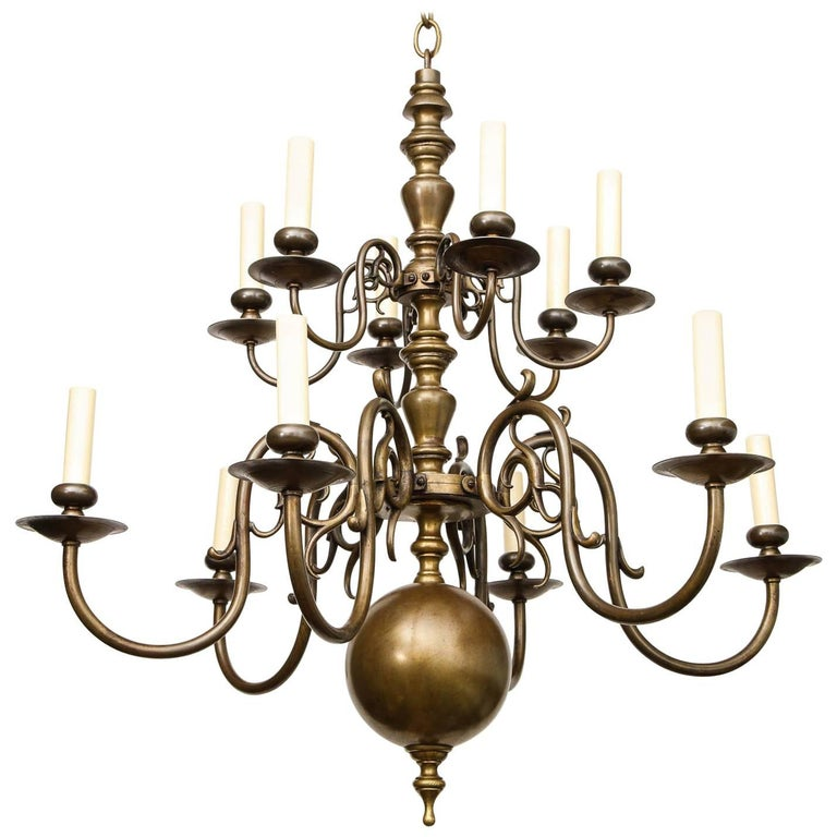 Brass Twelve-Light Chandelier