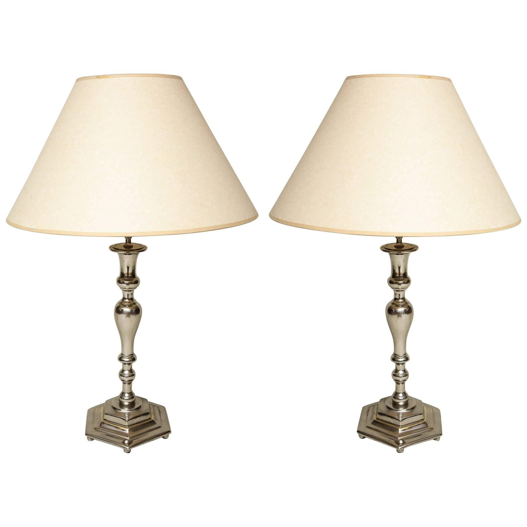 Silvered Tabletop Lamps For Sale