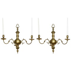 Pair of English Three-Light Chandeliers