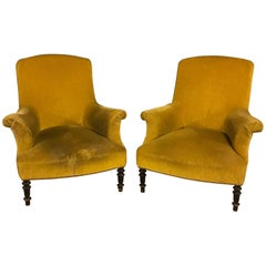 Pair of Two Yellow Velvet Armchairs