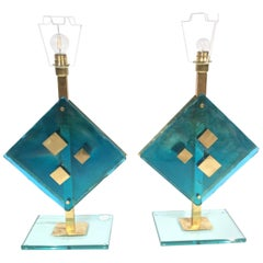 Pair of Decorative Murano Glass and Brass Table Lights, 1960