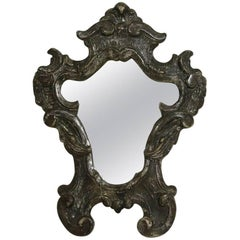 Small 18th Century, Italian Baroque Silver Carved Wood Mirror