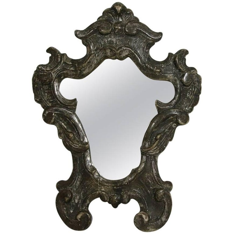 Small 18th century italian baroque silver carved wood for Small baroque mirror