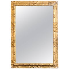 19th Century Italian Giltwood Frame with Acanthus Leaf Detail and New Mirror