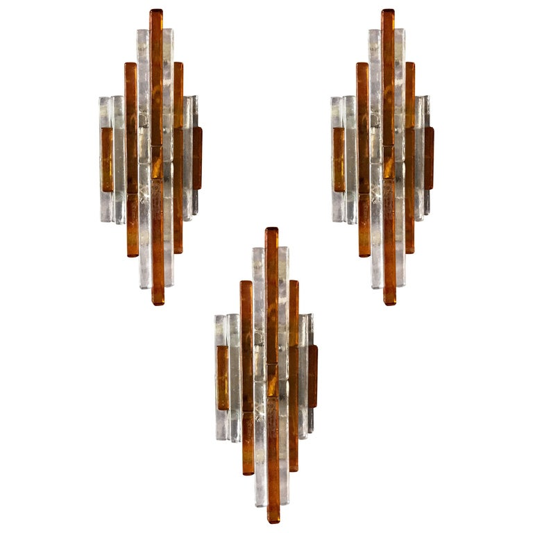 Three Poliarte Italian 1960s Midcentury Glass Sconces For Sale