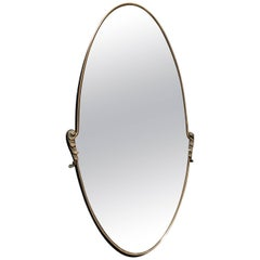 Italian Oval Mirror 1950s with Brass Frame
