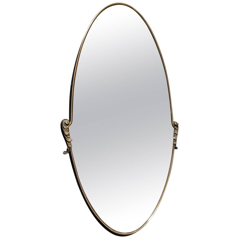 Italian Oval Mirror 1950s with Brass Frame For Sale