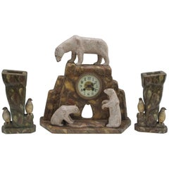 Wood Polar Bears on Mantle Clock with Pair of Penguins on Vases
