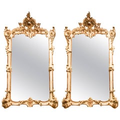 19th Century White and Gold Pair of Venetian Wall Mirrors