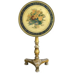 Early 19th Century, George-IV Giltwood and Painted Tilt-Top Table