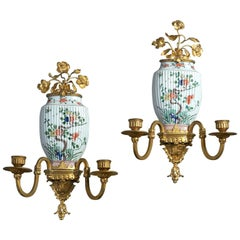 Pair of Famille Verte Wall Lights or Sconces