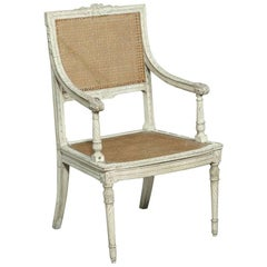 19th Century French Neoclassical Louis XVI Painted Caned Armchair