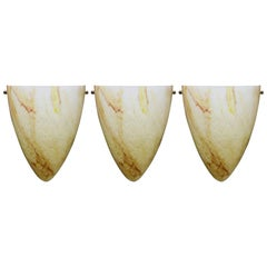 Set of Three High Clichy Glass  Sconces, circa 1960