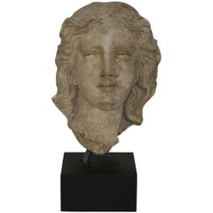 French, 17th-18th Century Carved Stone Head of a Madonna