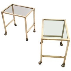 Pair of Brass and Smoked Glass Nightstands on Casters, Italy, 1970s