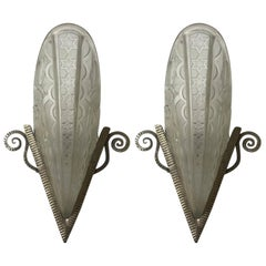 Pair of French Art Deco Wall Sconces by Donna, Paris