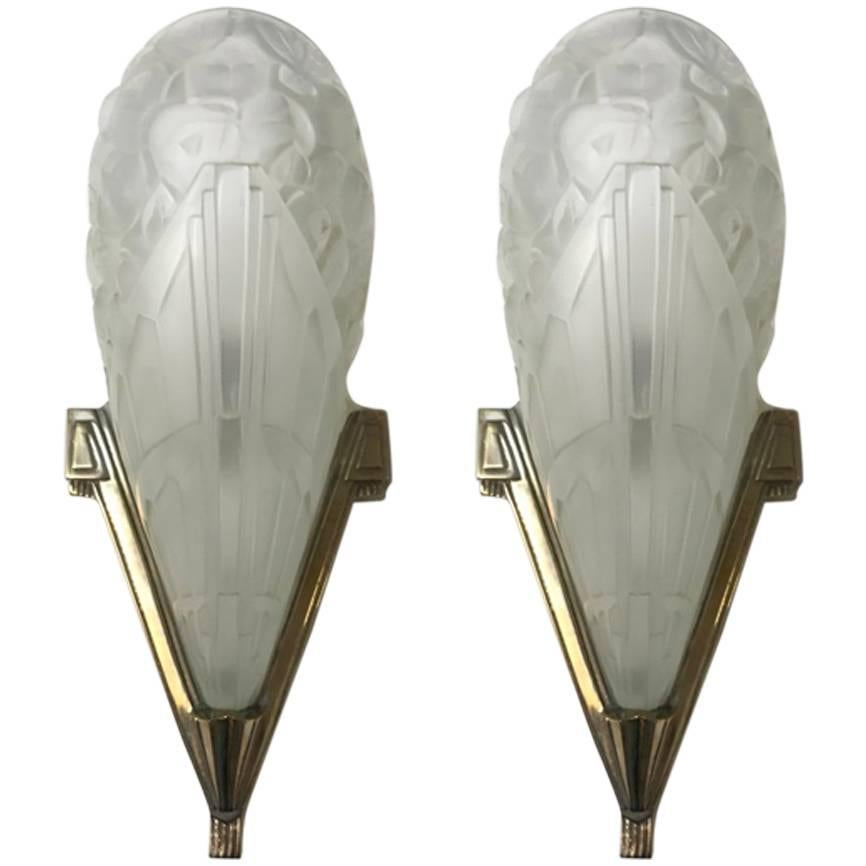 Pair of French Art Deco Wall Sconces by J Robert