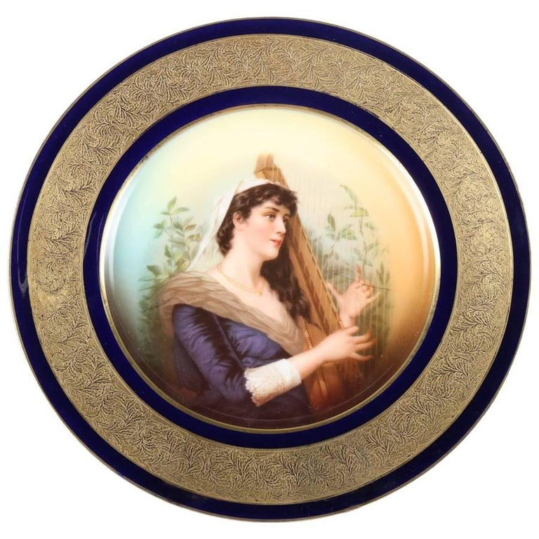 Antique German Hand-Painted and Gilt Porcelain Rosenthal Portrait Plate