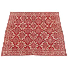Antique Loom Woven Red and White Floral Jacquard Coverlet, 19th Century