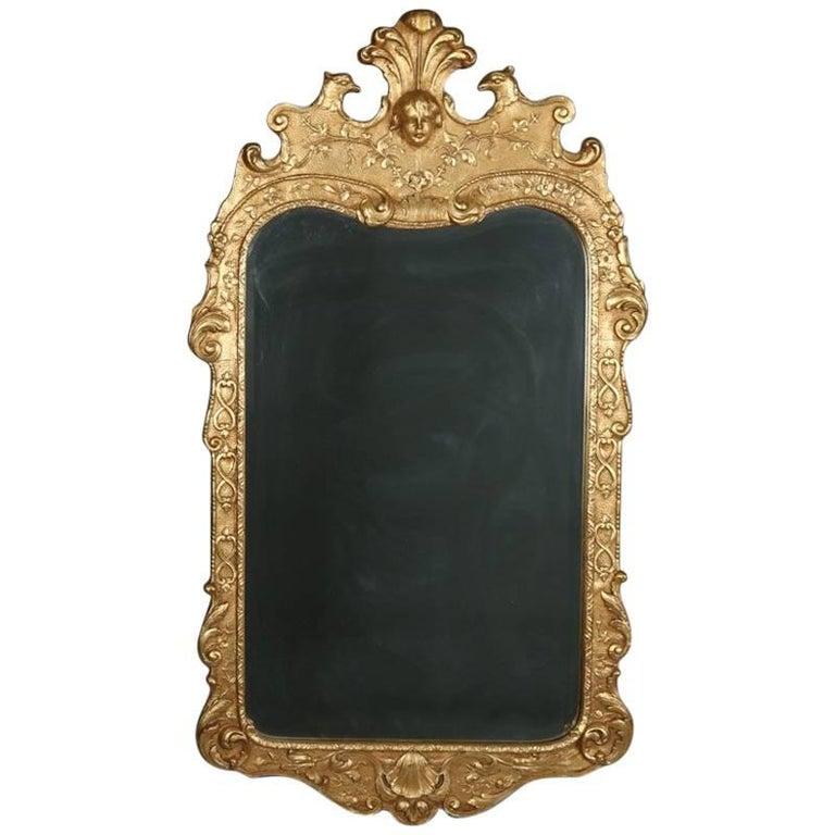 French Louis XIV Style Figural Giltwood Henredon Natchez Wall Mirror