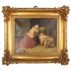 Antique Oil on Canvas Colonial Mother and Child in Giltwood Frame, 19th Century