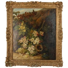 "Antique Continental School Still Life ""Apple Blossom & Birds Nest"" by V. Clare"