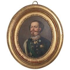 Antique Italian Oil on Board Portrait of Victor Emmanuel II in Military Uniform