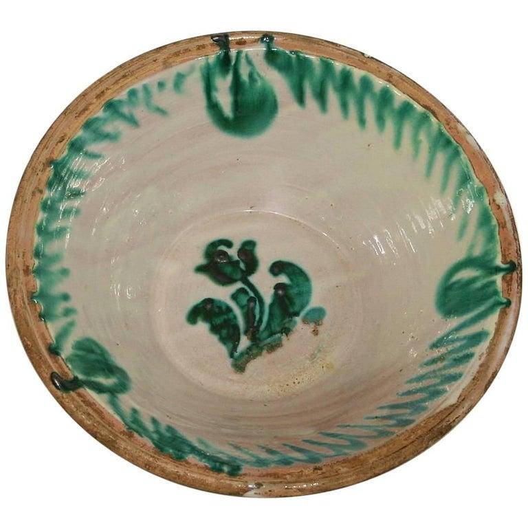 Large 19th Century, Spanish Glazed Earthenware Dairy Bowl / Tian