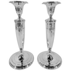 Pair of Classic Modern Sterling Silver Candlesticks by Tiffany