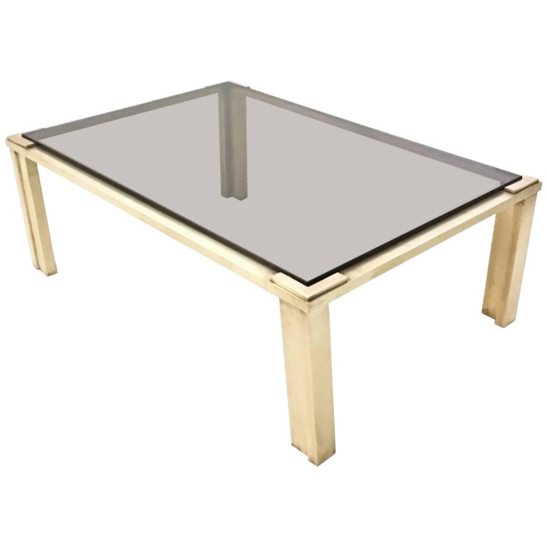 Brass Coffee Table with a Smoked Glass Top, Italy, 1970s