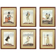 Rare and Charming Set of Six 18th Century Silk Applique and Gouache Pictures