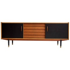 Long Teak Sideboard with Drawers and Black Sliding Doors by Hugo Troeds