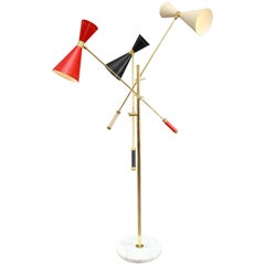 Italian Floor Lamp in the Manner of Stilnovo with Movable Arms