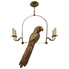 Hammered Bronze and Copper Bird Chandelier