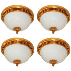 Wonderful Sherle Wagner Dore Bronze White Dome Glass Flush Mount Fixture Four