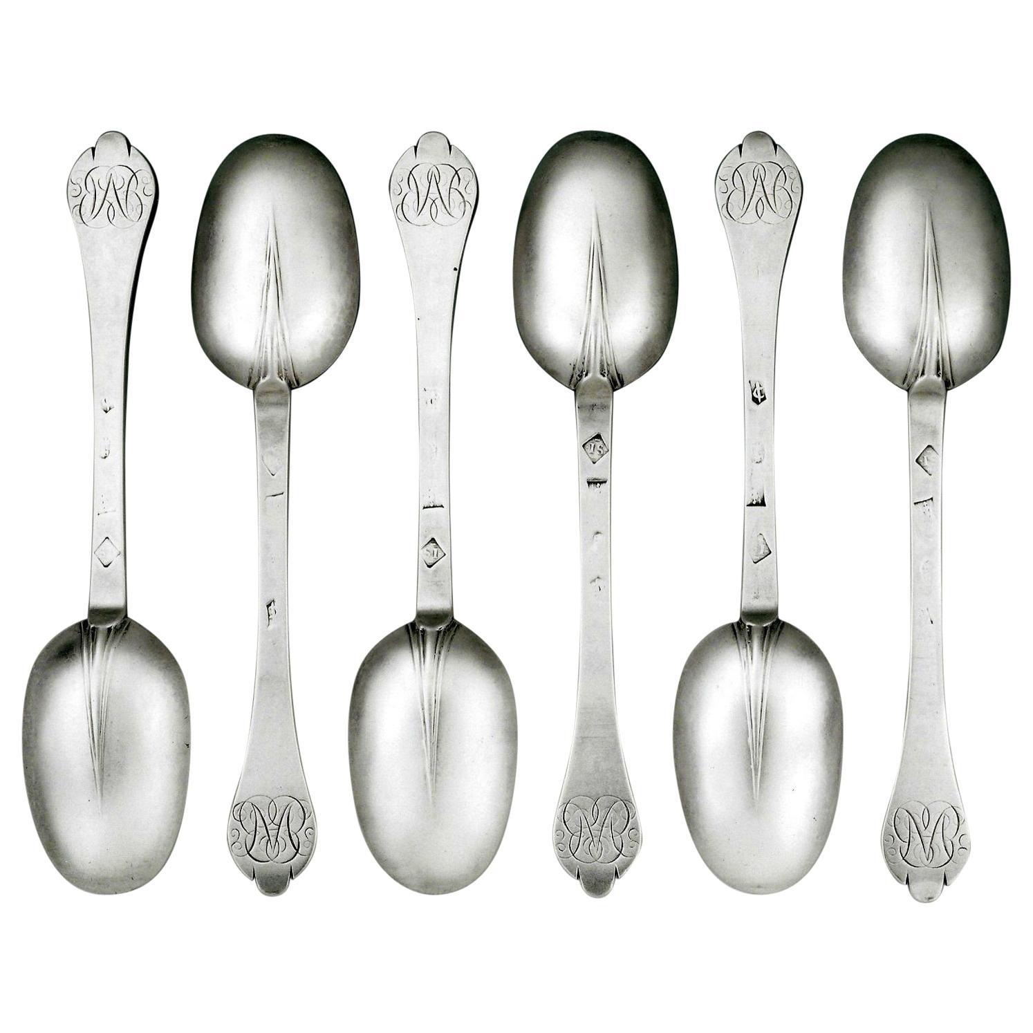 Set of Six William III Trefid Spoons made in London by Joyce Issod in 1697