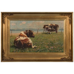 Original Pastoral Landscape Oil Painting with Cows by Gunnar Bundgaard