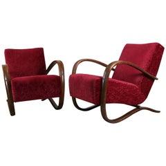 Red Pair of Halabala Lounge Chairs