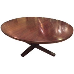 Rosewood Oval Mid-Century Modern Dining Room Table with One Leaf