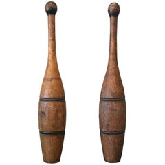 Pair of Patinated Maple Juggling Pins
