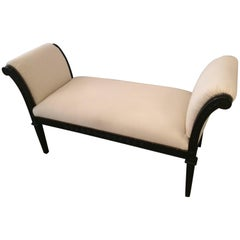 Stylish Hollywood Regency Ebonized Bench