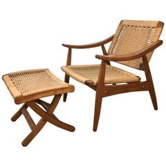 Wegner Style Lounge Chair and Ottoman