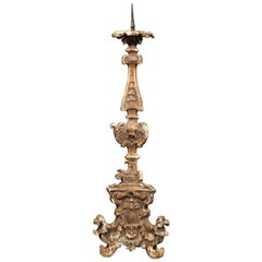 Important 19th Century Italian Carved Giltwood Pricket Candlestick