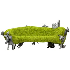 "Campana Brothers, ""Noah Bench"", Cast Aluminum, Woven Fabric, Green, Silver"