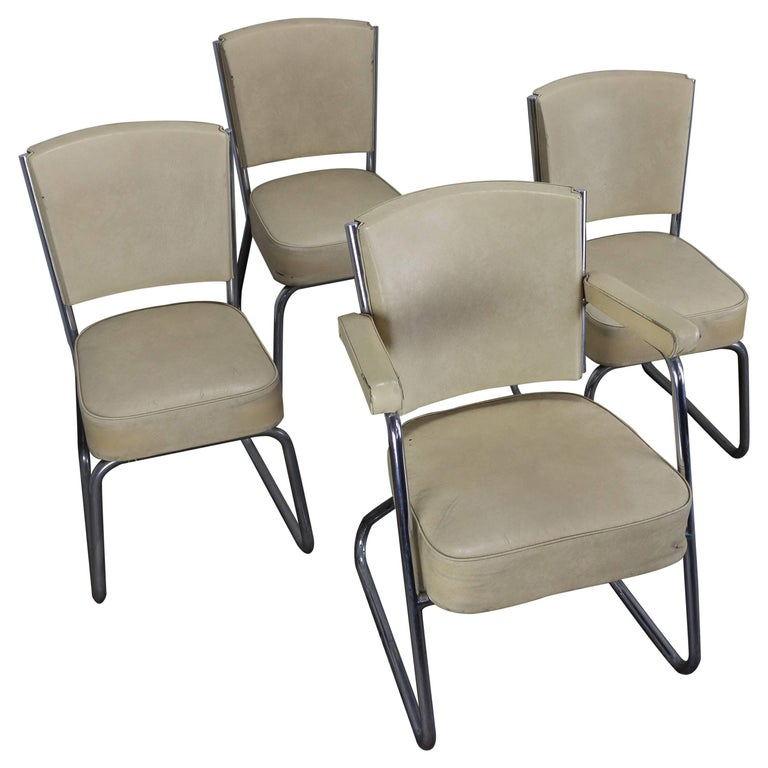 Set of Four Chrome-Plated Tubular Chairs