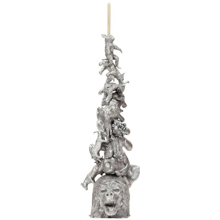 "Campana Brothers, ""Noah Candleholder"", Cast Aluminum, Animals, Silver For Sale"