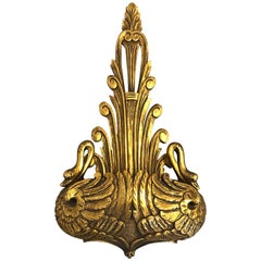 1960s, Italian Large Gilded Wall Bracket Planter with Swan Motif