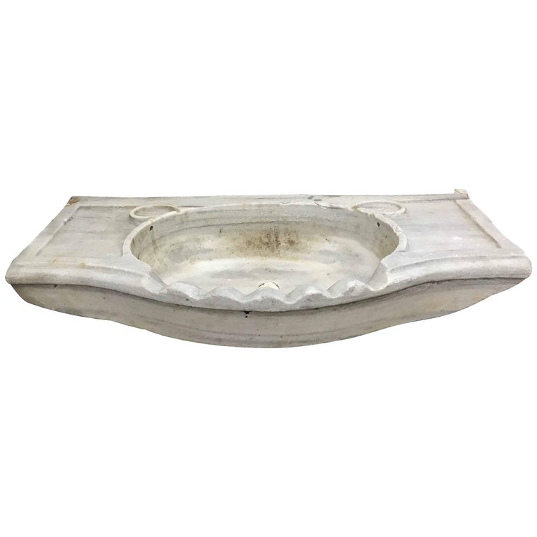White antique marble sink circa 1800s at 1stdibs for Antique stone sinks for sale