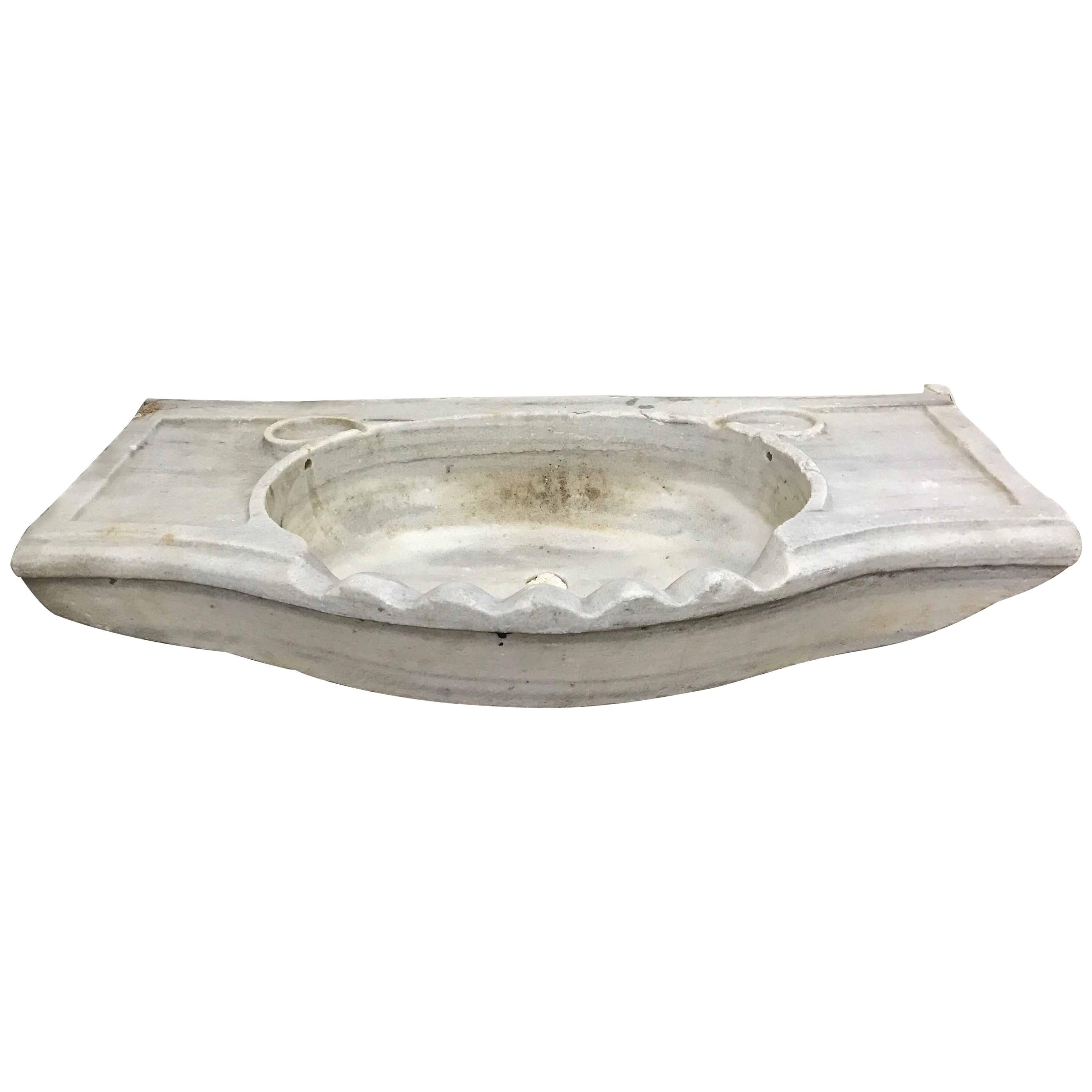 White Antique Marble Sink, Circa 1800s